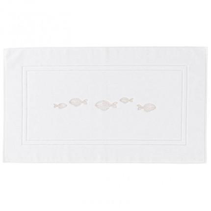Tapis de bain bouclette de coton brodé Bellagio blanc