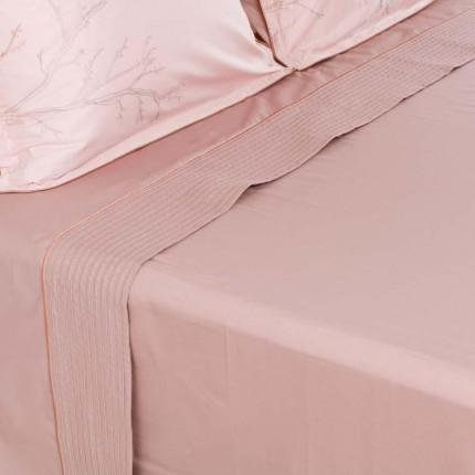 Drap de lit satin de coton Blush taupe