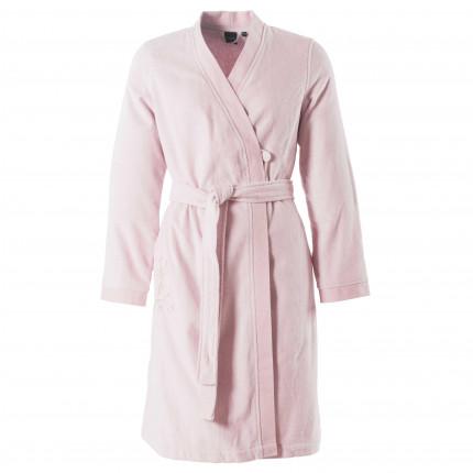 Peignoir femme velours col kimono Blush poudre