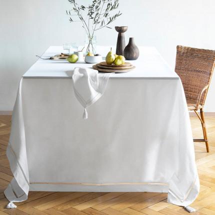 Nappe coton et lin brodée Bohème blanc
