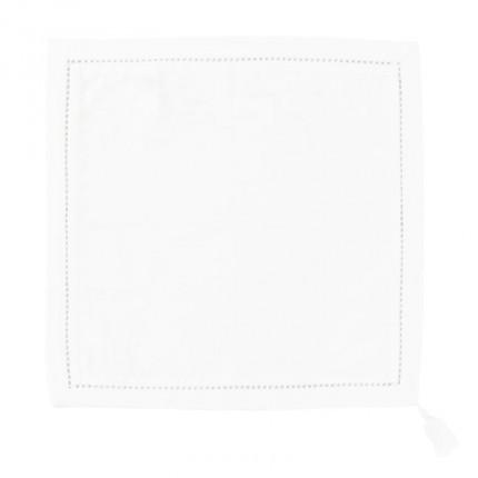 Serviette de table coton et lin brodée Bohème blanc