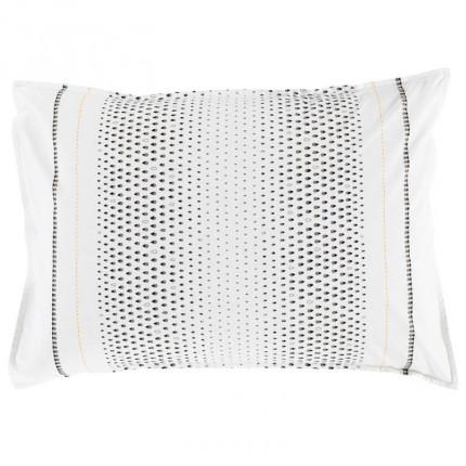 Taie rectangulaire carrée percale de coton imprimé motif goutte Brume