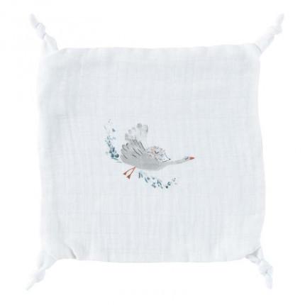 Doudou mousseline de coton biologique imprimé animaux Câline blanc