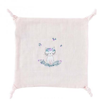 Doudou mousseline de coton biologique imprimé chat Câline dragée