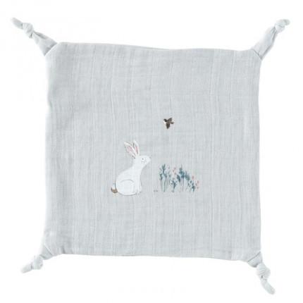 Doudou mousseline de coton biologique imprimé lapin Câline perle