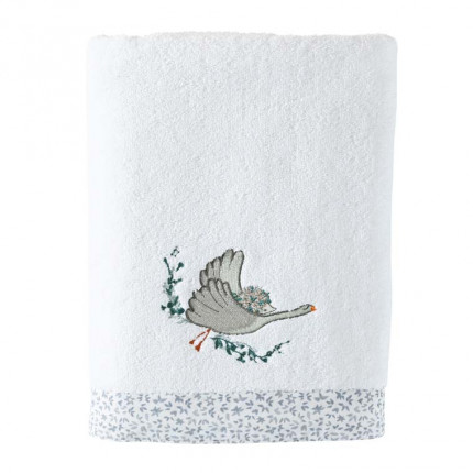 Drap de bain coton biologique brodé animaux Câline blanc