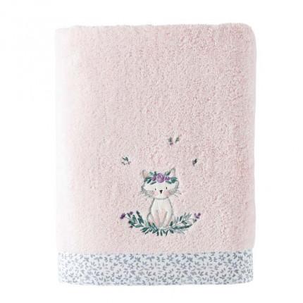 Drap de bain coton biologique brodé chat Câline dragée