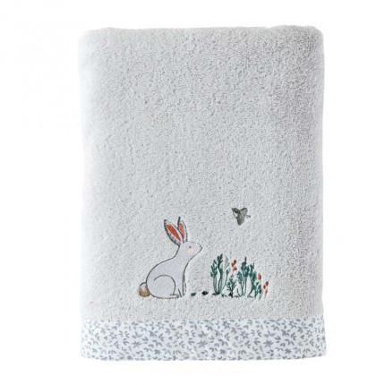 Drap de bain coton biologique brodé lapin Câline perle