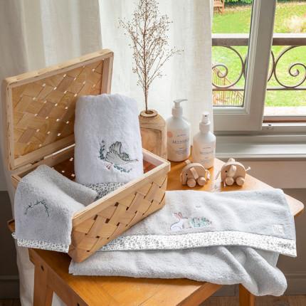 Parure de bain coton biologique brodée petits animaux Câline