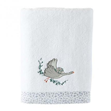 Serviette de toilette coton biologique brodée animaux Câline blanc