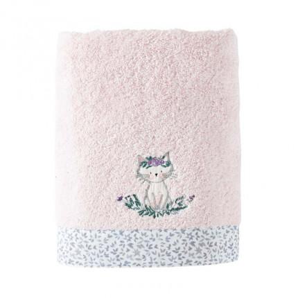 Serviette de toilette coton biologique brodée chat Câline dragée