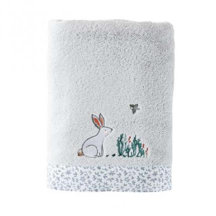 Serviette de toilette coton biologique brodée lapin Câline perle