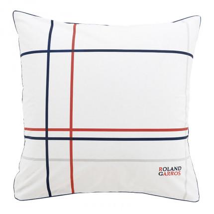 Taie d'oreiller carrée percale de coton imprimée Roland-Garros Chelem