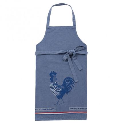 Tablier de cuisine coton biologique Cocorico bleu