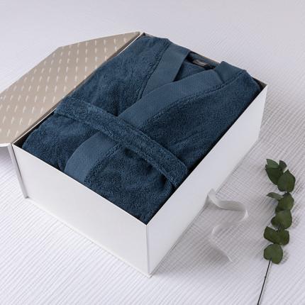 Coffret cadeau peignoir homme Romeo bleu