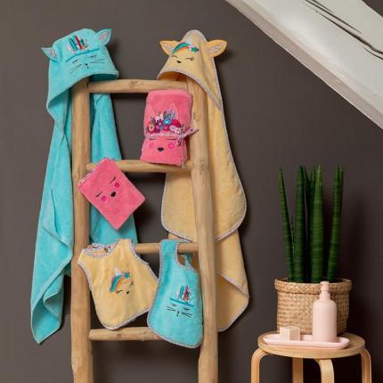 Parure de bain bouclette de coton brodée animaux Colorful