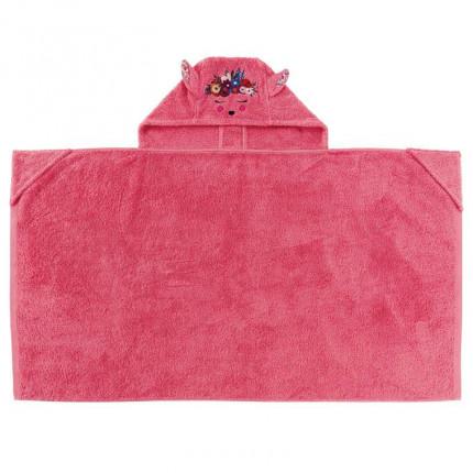 Drap de bain à capuche bouclette de coton brodé biche Colorful fuschia