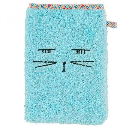 Gant de toilette bouclette de coton brodé chat Colorful lagon