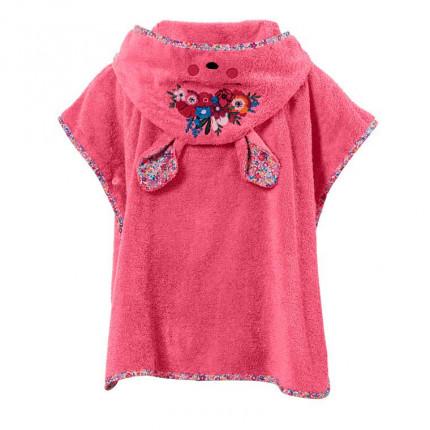 Poncho enfant coton à capuche oreilles de biche Colorful fuchsia