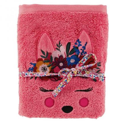 Serviette de toilette bouclette de coton brodée biche Colorful fuschia