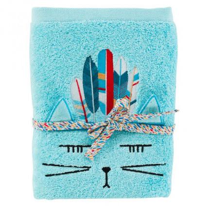 Serviette de toilette bouclette de coton brodée chat Colorful lagon