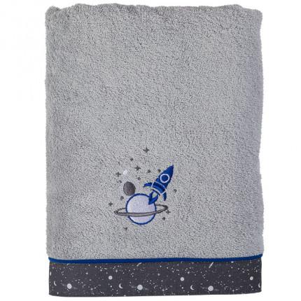 Drap de bain bouclette de coton broderie fusée Cosmic gris