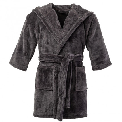 Robe de chambre enfant polaire à capuche brodée lion Cosmic anthracite