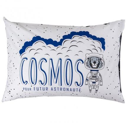 Taie d'oreiller rectangulaire pur coton imprimée constellations et lion cosmonaute Cosmic