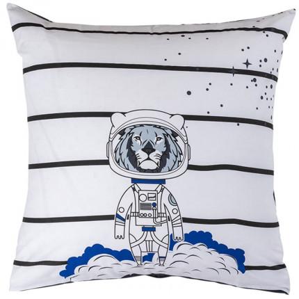 Taie d'oreiller carrée pur coton imprimée constellations et lion cosmonaute Cosmic