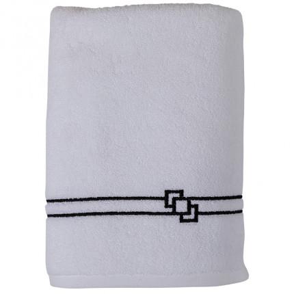 Drap de bain bouclette de coton broderie point de bourdon noir Couture blanc