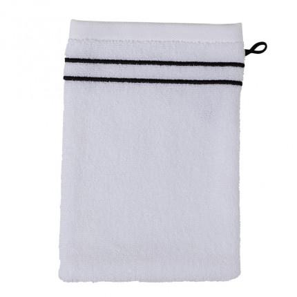 Gant de toilette bouclette de coton broderie point de bourdon noir Couture blanc