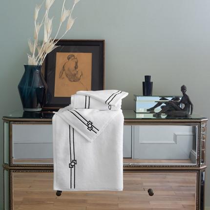 Parure de bain bouclette de coton broderie point de bourdon noir Couture
