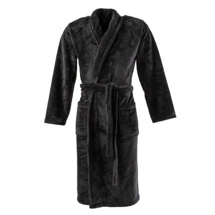 Robe de chambre homme polaire  unie Couture noir