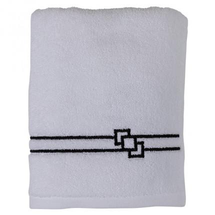Serviette de toilette bouclette de coton broderie point de bourdon noir Couture blanc