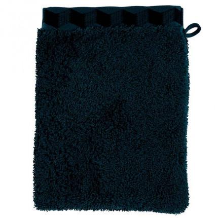 Gant de toilette coton brodé Cubes bleu nuit