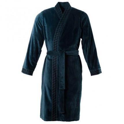 Peignoir homme velours kimono Cubes bleu nuit