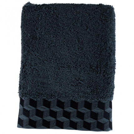 Serviette de toilette coton brodé Cubes bleu nuit