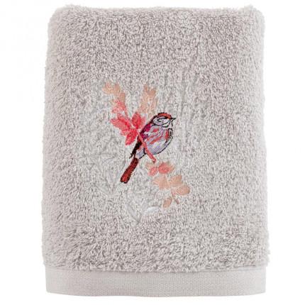 Serviette de toilette coton brodé végétal Cybèle perle