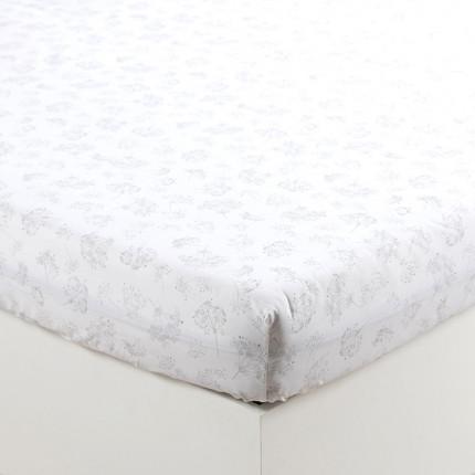 Drap housse percale de coton fleur Cybèle imprimé