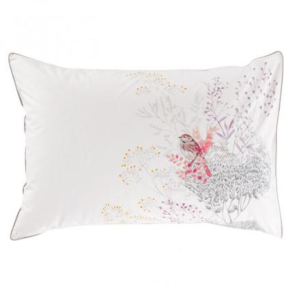 Taie d'oreiller retangulaire percale de coton fleur Cybèle