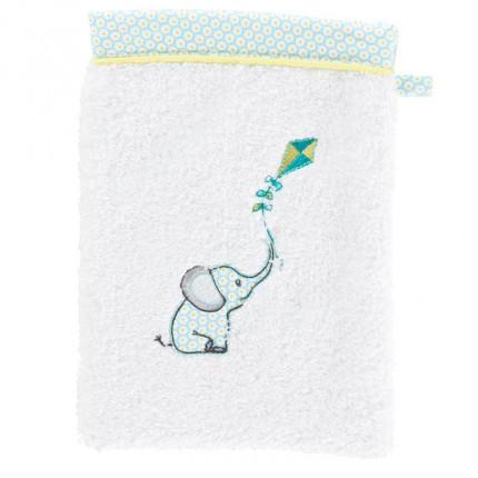 Gant de toilette coton brodé éléphant CYPRIEN blanc