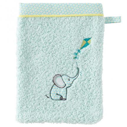 Gant de toilette coton brodé éléphant CYPRIEN lagon