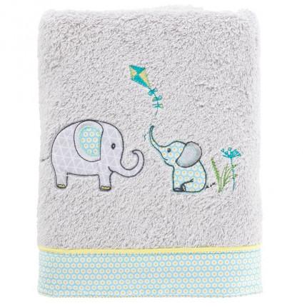 Serviette de toilette coton brodé éléphant CYPRIEN perle