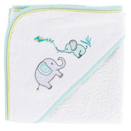 Cape de bain coton brodé éléphant CYPRIEN blanc