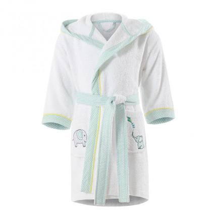 Peignoir bébé coton brodé à capuche CYPRIEN blanc