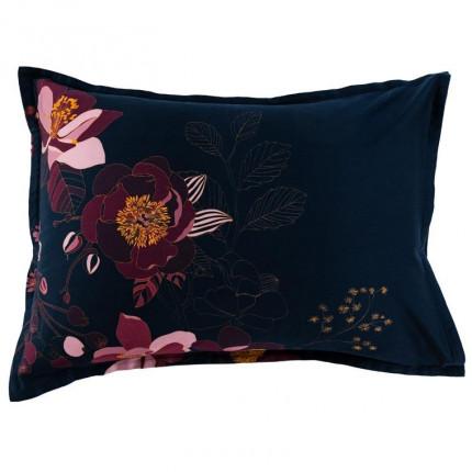Taie d'oreiller rectangulaire satin de coton imprimé floral Divine bleu nuit