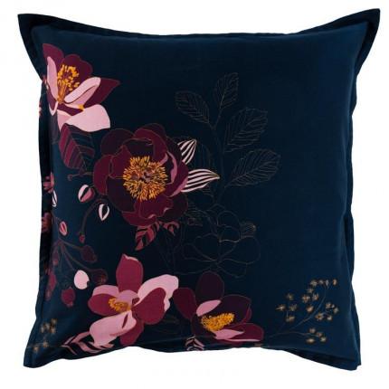 Taie d'oreiller carrée satin de coton imprimé floral Divine bleu nuit