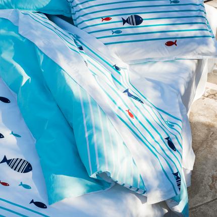 Drap de lit percale de coton brodé Iroise