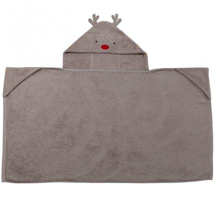 Drap de bain à capuche bouclette de coton broderie cerf Dreamful lin