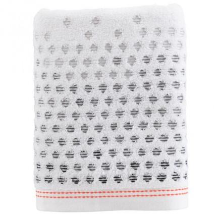 Serviette de toilette coton à pois jacquard Ellyn blanc